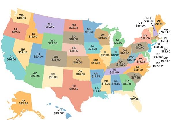 Average salary map