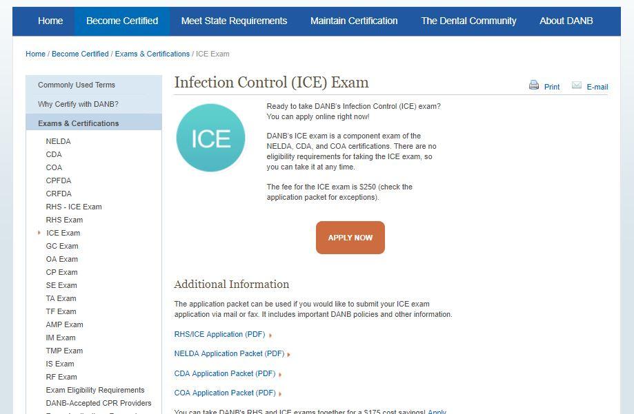 Infection control exam